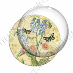 Image digitale - Fleurs et papillons