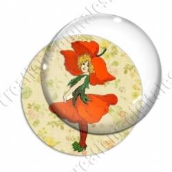 Image digitale - Fillette fleur rouge
