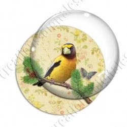 Image digitale - Oiseau jaune fond fleuri