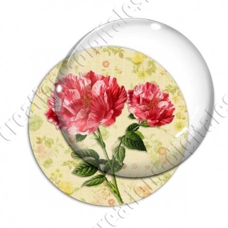 Image digitale - 2 roses fond fleuri
