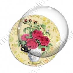 Image digitale - Bouquet de roses fond fleuri