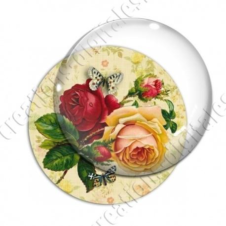 Image digitale - Rose rouge et rose jaune fond fleuri