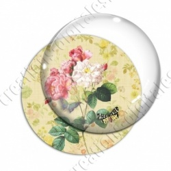 Image digitale - Bouquet de fleurs fond fleuri