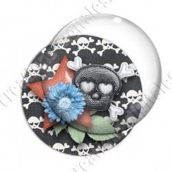 Image digitale - Tête de mort et fleur bleue