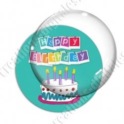 Image digitale - Happy birthday - Gâteau fond turquoise