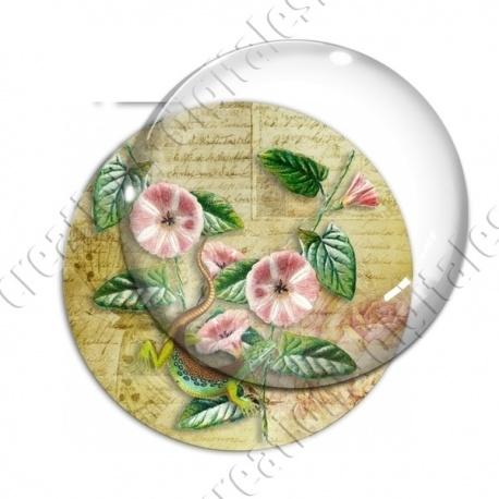 Image digitale - Fleurs roses et lézard fond lettre vintage