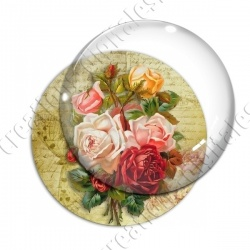 Image digitale - Bouquet de roses  fond lettre vintage