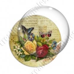 Image digitale - Fleurs et papillons fond lettre vintage