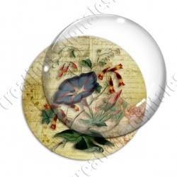 Image digitale - Fleur bleue fond lettre vintage