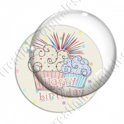 Image digitale - Happy birthday - Cupcakes