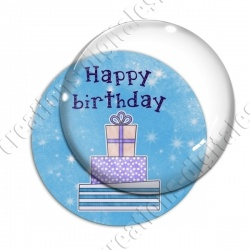 Image digitale - Happy birthday - Cadeaux fond bleu