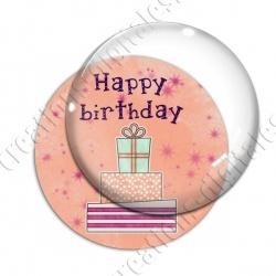 Image digitale - Happy birthday - Cadeaux fond orange
