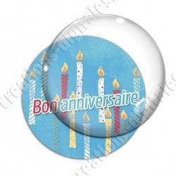 Image digitale - Bon anniversaire - Bougies fond bleu