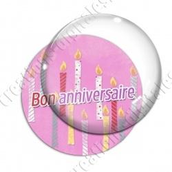 Image digitale - Bon anniversaire - Bougies fond rose
