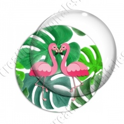 Image digitale - Flamants roses fond grosses feuilles 03