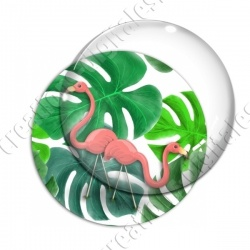 Image digitale - Flamants roses fond grosses feuilles 06