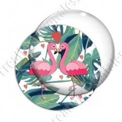Image digitale - Flamant rose couple et coeurs 01
