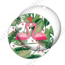 Image digitale - Flamant rose couple et coeurs 02