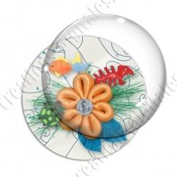 Image digitale - Fleur et poissons - Fond marin