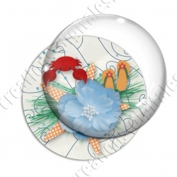 Image digitale - Fleur et crabe - Fond marin