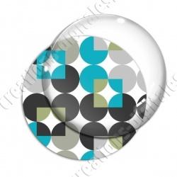 Image digitale - Motif 70s - Ronds cyan 02