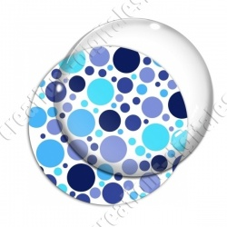 Image digitale - Ronds multi-tailles - Bleu fond blanc