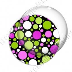 Image digitale - Ronds multi-tailles - Rose et vert