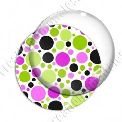 Image digitale - Ronds multi-tailles - Rose et vert 02