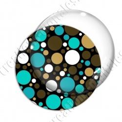 Image digitale - Ronds multi-tailles - Marron et turquoise