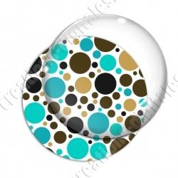 Image digitale - Ronds multi-tailles - Marron et turquoise 02
