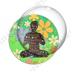 Image digitale - Yoga fond fleuri vert