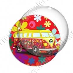 Image digitale - Van hippie - Fond fleuri rouge 02