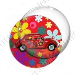 Image digitale - Coccinelle hippie - Fond fleuri rouge