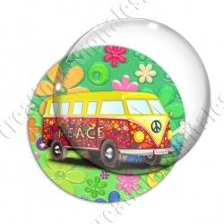 Image digitale - Van hippie - Fond fleuri vert