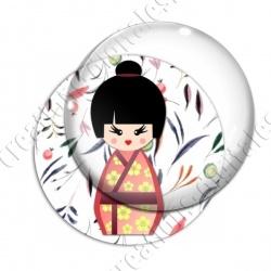 Image digitale - Kokeshi chignon décor feuillage