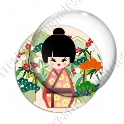 Image digitale - Kokeshi chignon décor jardin