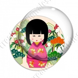 Image digitale - Kokeshi rose décor jardin