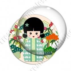 Image digitale - Kokeshi verte décor jardin