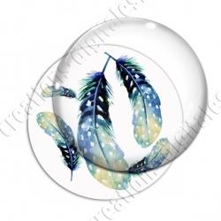 Image digitale - Plumes bleues à pois
