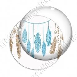 Image digitale - Plumes turquoises et brunes - Fond blanc