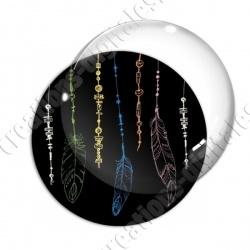 Image digitale - Plumes multicolores - Fond noir