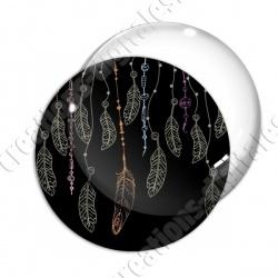 Image digitale - Plumes vertes - Fond noir