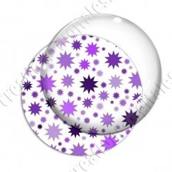 Image digitale - Etoiles multi-tailles - Violet et blanc