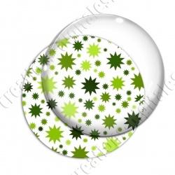 Image digitale - Etoiles multi-tailles - Vert et blanc