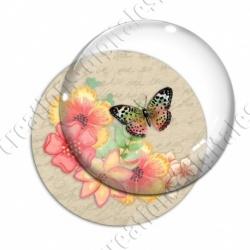 Image digitale - Fleurs et papillon