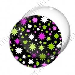 Image digitale - Etoiles multi-tailles - Vert et rose