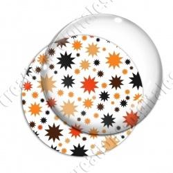 Image digitale - Etoiles multi-tailles - Orange et blanc