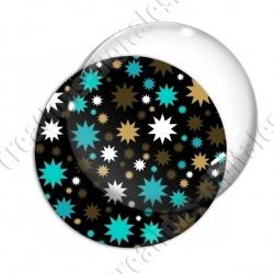 Image digitale - Etoiles multi-tailles - Turquoise et noir