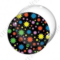 Image digitale - Etoiles multi-tailles - Multicolor et noir