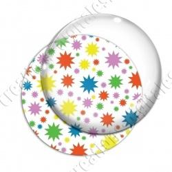 Image digitale - Etoiles multi-tailles - Multicolor et blanc